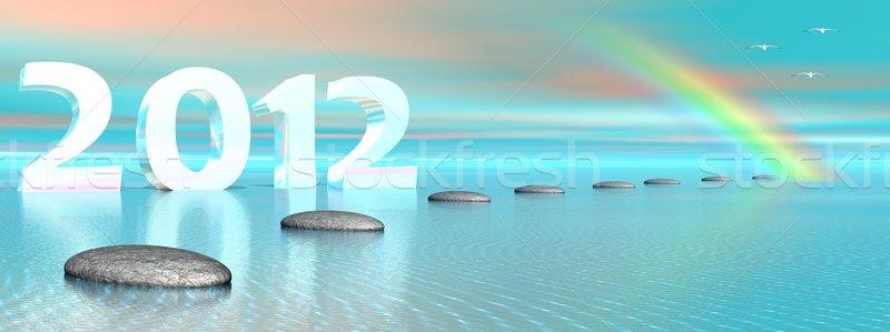 Сток-фото: Новый · год · 2012 · океана · шаги · радуга
