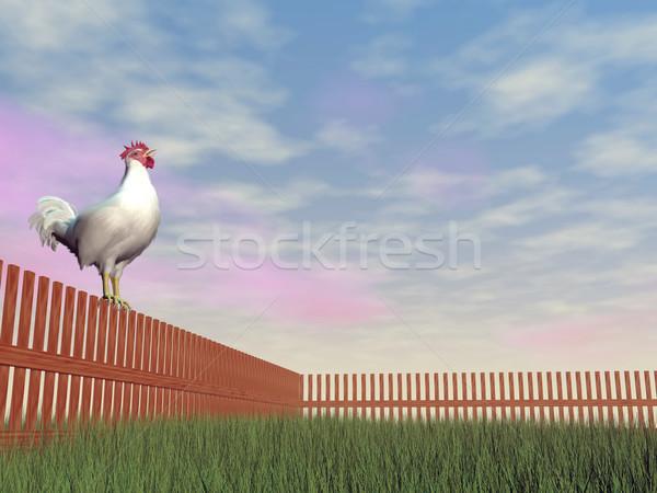 Rooster crowing - 3D render Stock photo © Elenarts