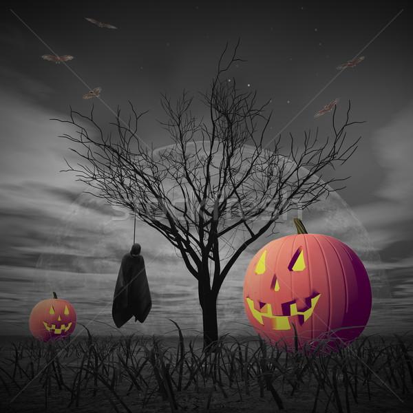 Halloween landschap 3d render pompoenen lijk opknoping Stockfoto © Elenarts