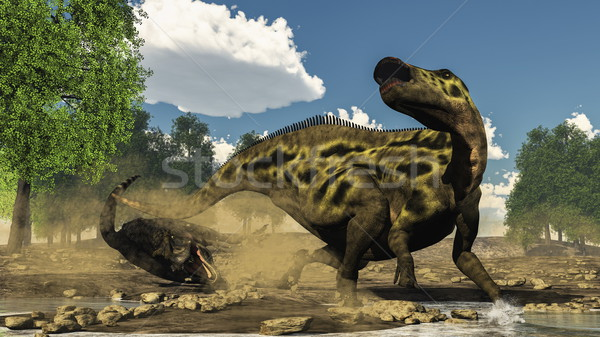 Shantungosaurus defending from tarbosaurus dinosaur attack - 3D  Stock photo © Elenarts