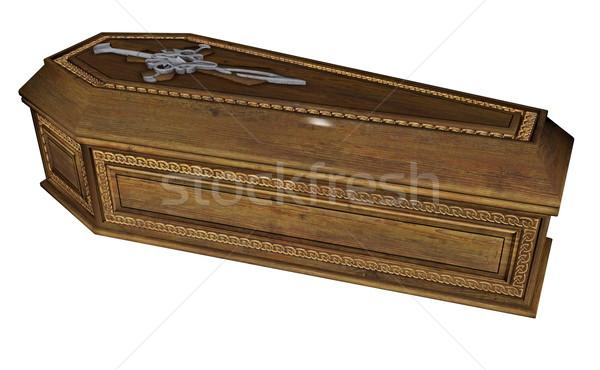 棺 3dのレンダリング 木製 孤立した 白 木材 ストックフォト © Elenarts