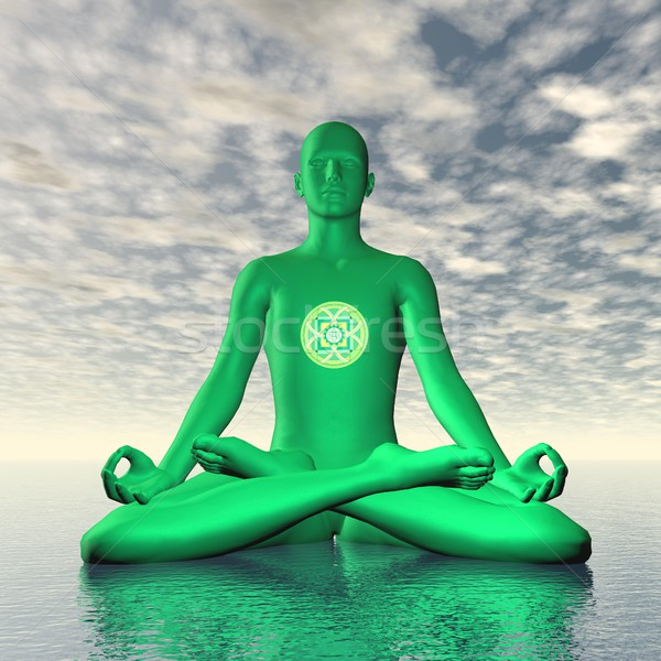 Green anahata or heart chakra meditation - 3D render Stock photo © Elenarts