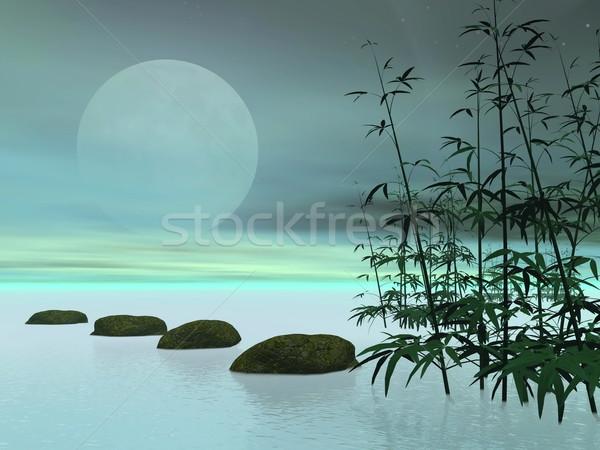Сток-фото: азиатских · шаги · луна · 3d · визуализации · камней