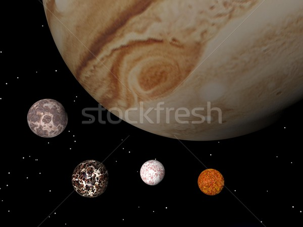 Jupiter and its satellites - 3D render Stock photo © Elenarts