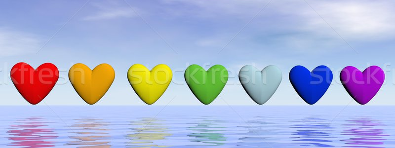 Chakra hearts - 3D render Stock photo © Elenarts