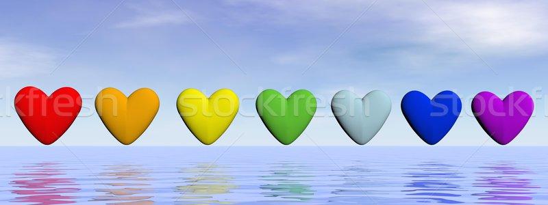 Chakra harten 3d render zeven rij kleuren Stockfoto © Elenarts