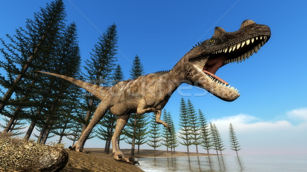 Ceratosaurus dinosaur at the shoreline - 3D render Stock photo © Elenarts