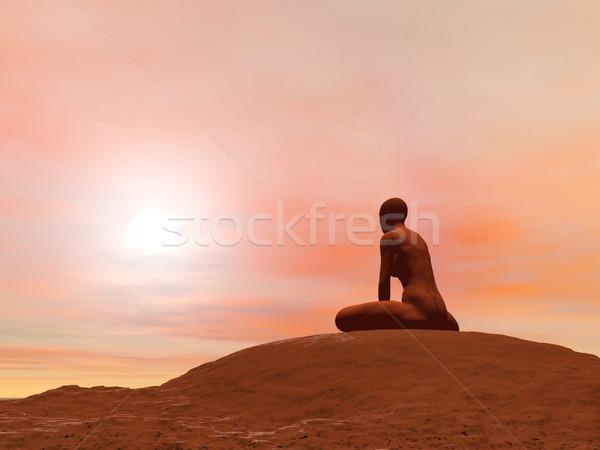 Bound angle pose, baddha konasana - 3D render Stock photo © Elenarts