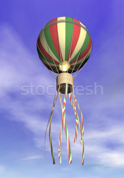 Balão de ar quente 3d render flutuante alto nublado céu Foto stock © Elenarts