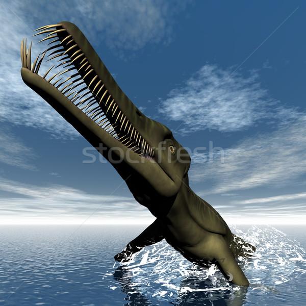 Stock photo: Mesosaurus dinosaur - 3D render