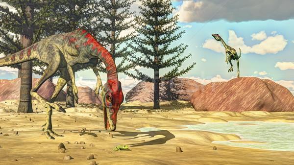 Compsognathus dinosaurs - 3D render Stock photo © Elenarts