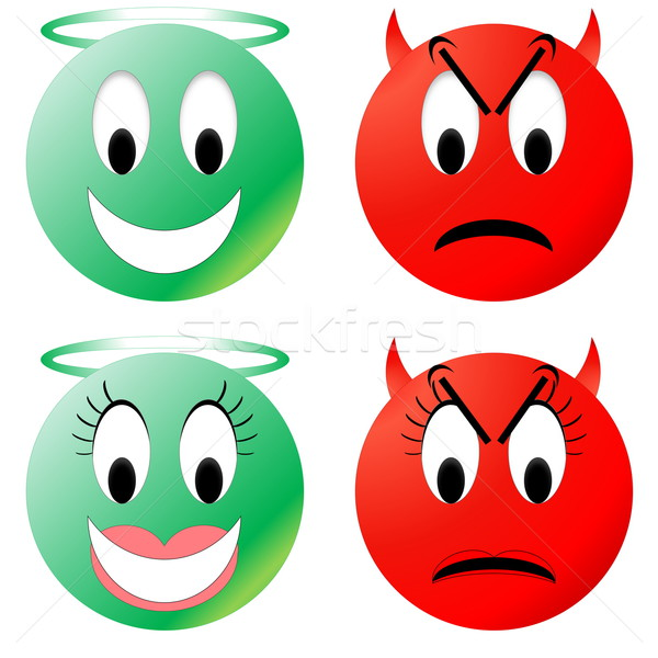 Angel and devil smiley Stock photo © Elenarts