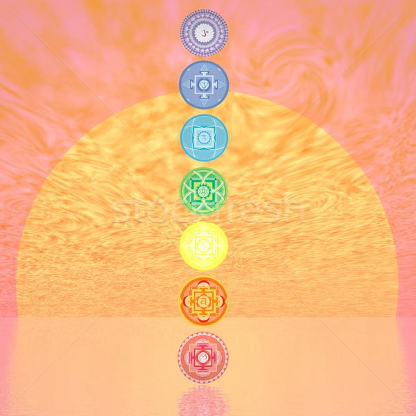 семь чакра колонки закат 3d визуализации Сток-фото © Elenarts