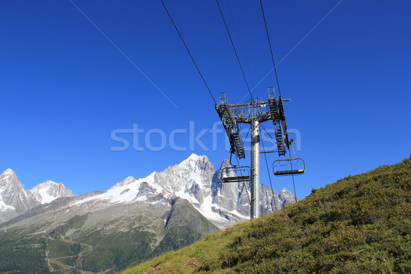 Chair lifts  in front of the Mont-Blanc massif, France Stock photo © Elenarts