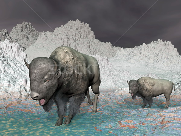 Bisons in the mountain - 3D render Stock photo © Elenarts