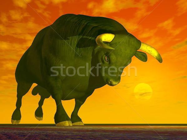 Agressive bull - 3D render Stock photo © Elenarts