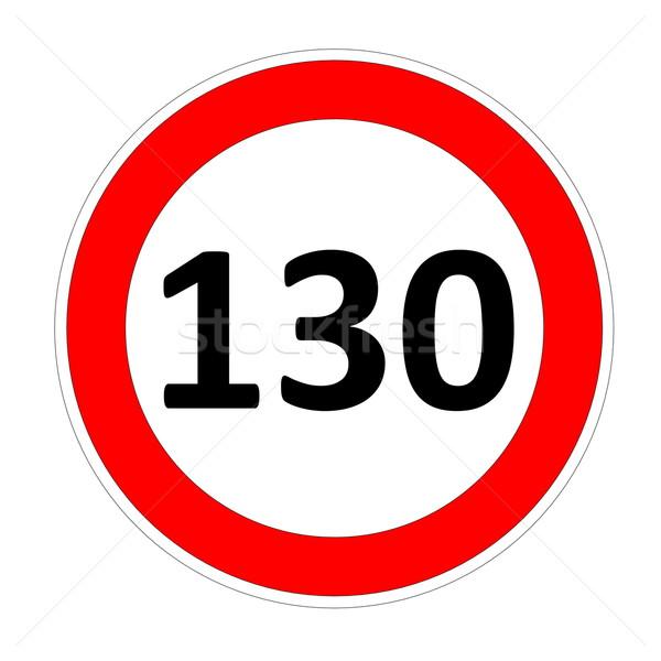 Foto stock: Limite · de · velocidade · assinar · acelerar · placa · sinalizadora · branco · carro