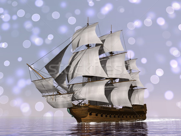 Stock photo: Old merchant ship - 3D render