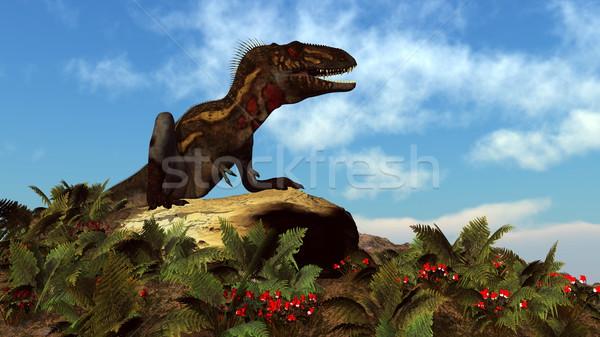 Nanotyrannus dinosaur resting - 3D render Stock photo © Elenarts