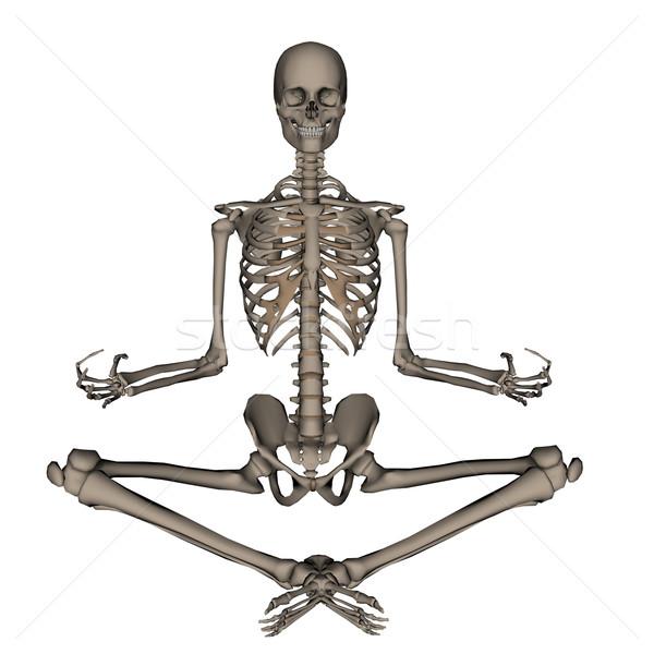 Human skeleton meditation- 3D render Stock photo © Elenarts