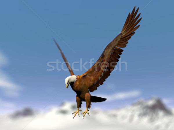 Eagle landing over snowy mountain - 3D render Stock photo © Elenarts