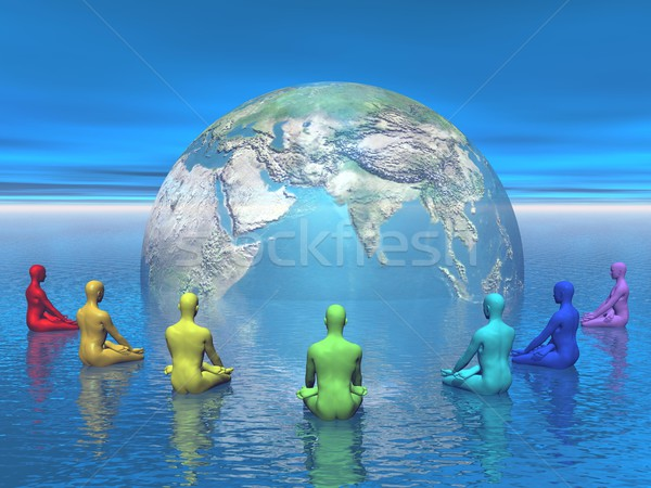 Chakra meditation for earth - 3D render Stock photo © Elenarts