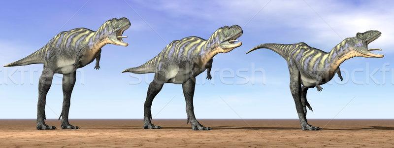 Динозавры пустыне 3d визуализации три Постоянный небе Сток-фото © Elenarts