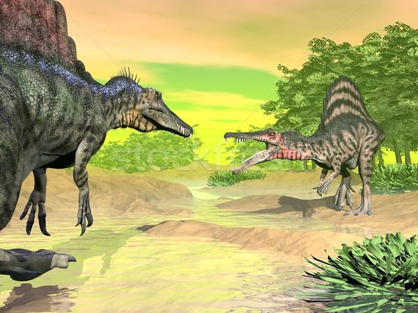 Динозавры борьбе 3d визуализации два Сток-фото © Elenarts
