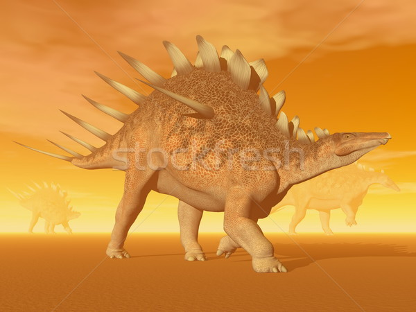 Kentrosaurus dinosaur - 3D render Stock photo © Elenarts