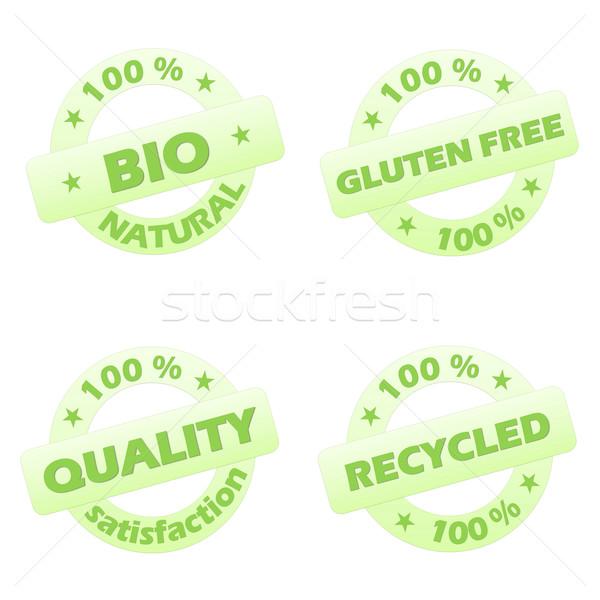 Szett ökológiai bélyegek négy zöld izolált Stock fotó © Elenarts
