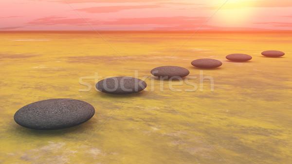 Lépcső nap 3d render szürke kövek föld Stock fotó © Elenarts