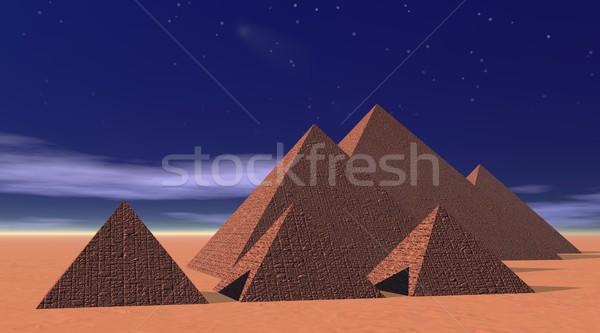 Pyramids by night Stock photo © Elenarts