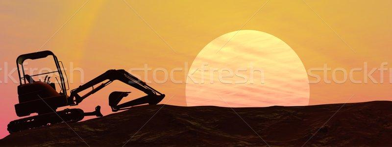 Kotrógép naplemente árnyék föld égbolt építkezés Stock fotó © Elenarts