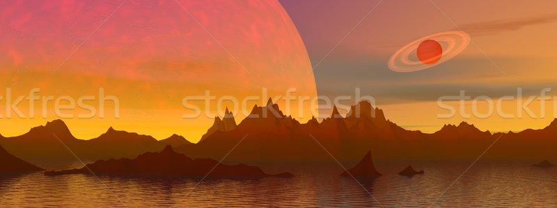 Fantasy krajobraz czerwony góry wody planet Zdjęcia stock © Elenarts