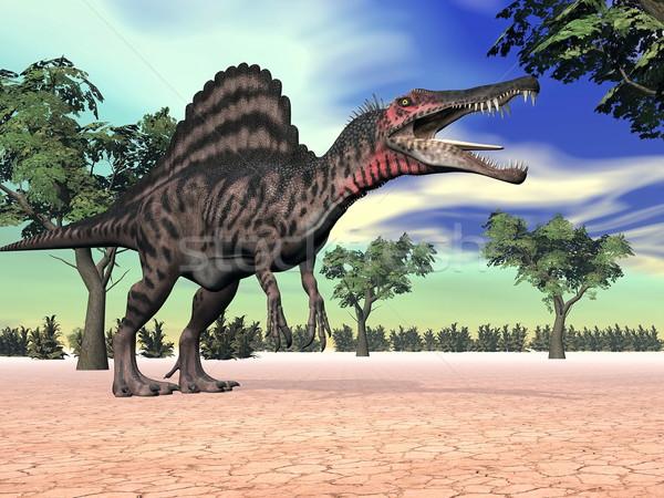 Foto stock: Dinossauro · deserto · 3d · render · um · em · pé · árvores