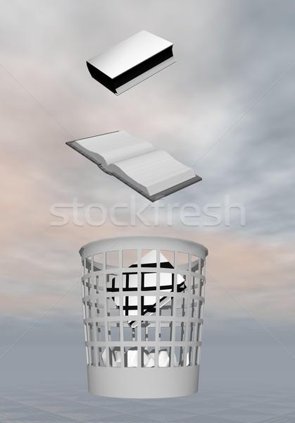 Tudás hulladék 3d render dob könyvek szürke Stock fotó © Elenarts