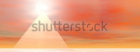Pyramid to sun - 3D render Stock photo © Elenarts
