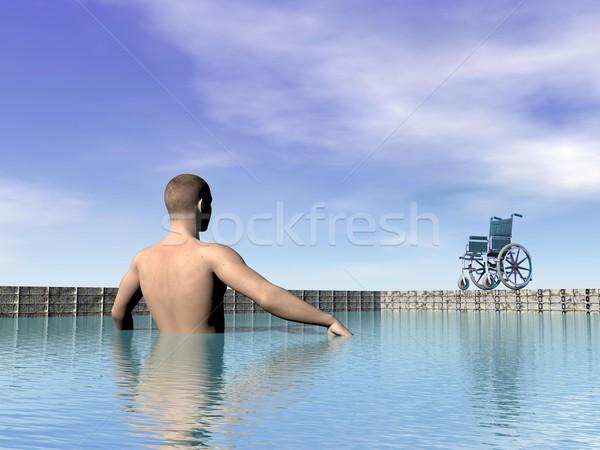 Gehandicapten man zwembad 3d render een water Stockfoto © Elenarts