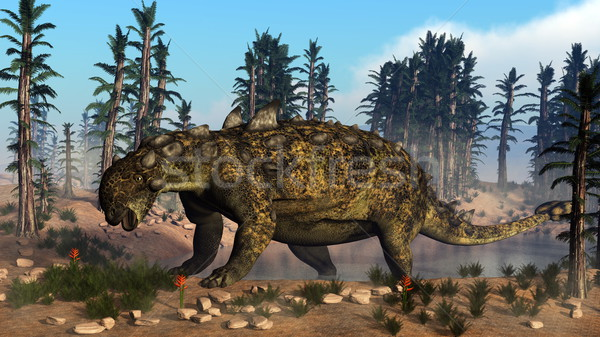 Euoplocephalus dinosaur - 3D render Stock photo © Elenarts