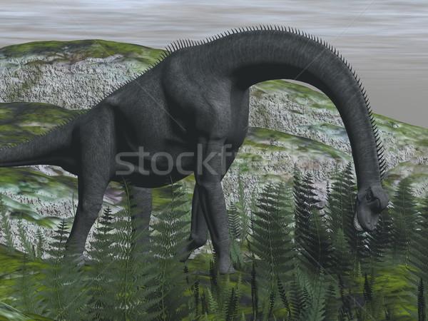 Dinosaurus eten varen 3d render grond natuur Stockfoto © Elenarts