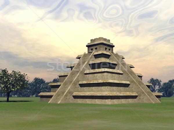 Maya pyramid - 3D render Stock photo © Elenarts