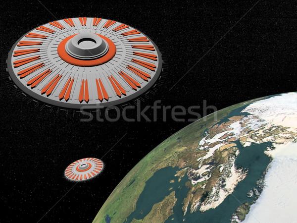 Rendering 3d due universo terra pianeta elementi Foto d'archivio © Elenarts