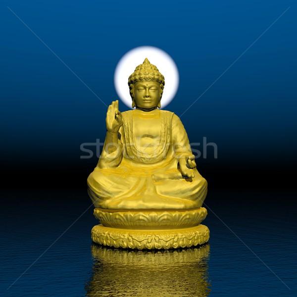 Nacht meditatie 3d render een gouden buddha Stockfoto © Elenarts