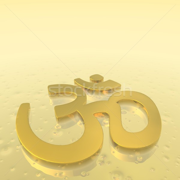 Golden aum symbol - 3D render Stock photo © Elenarts