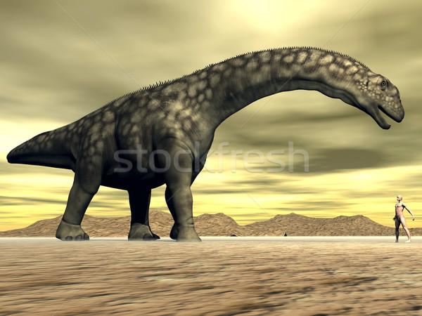 Dinoszaurusz emberi méret 3d render nagy szemtől szembe Stock fotó © Elenarts