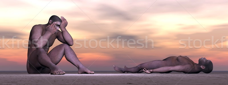 Homo erectus suffering - 3D render Stock photo © Elenarts