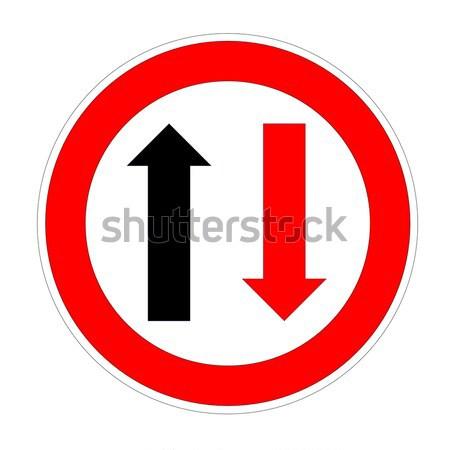 Prioriteit verkeersbord geïsoleerd witte weg zwarte Stockfoto © Elenarts