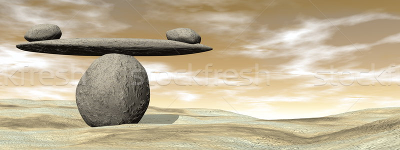 Balanced stones - 3D render Stock photo © Elenarts
