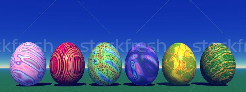 Pasen gekleurde eieren natuur zes gras blauwe hemel Stockfoto © Elenarts