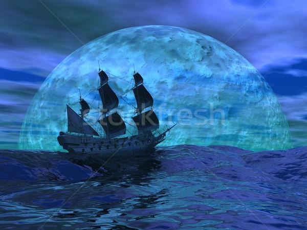 Flying dutchman boat by night - 3D render Stock photo © Elenarts